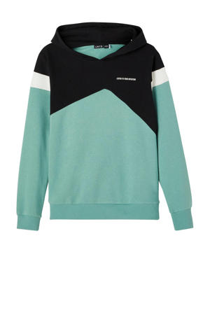 hoodie NLMLASSE mintgroen/zwart/wit