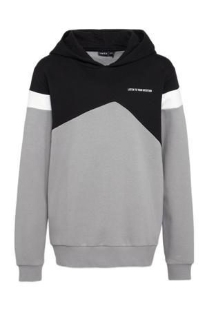 hoodie Lasse grijs/zwart/wit