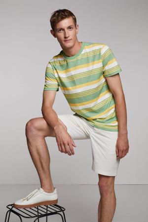 gestreept T-shirt groen/ecru/geel