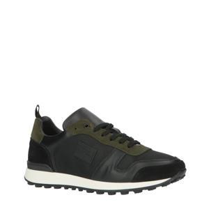 leren sneakers zwart/groen
