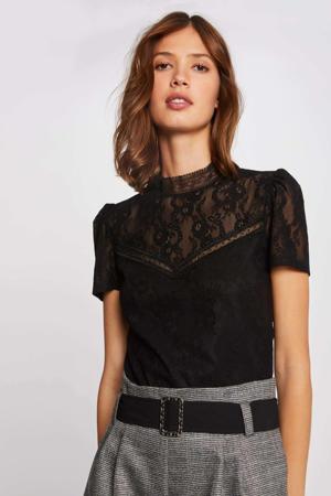 gebloemd semi-transparant T-shirt zwart