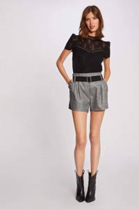 Morgan gebloemd semi-transparant T-shirt zwart, Zwart