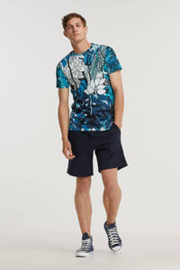 Cars T-shirt Floral met all over print blauw, Blauw