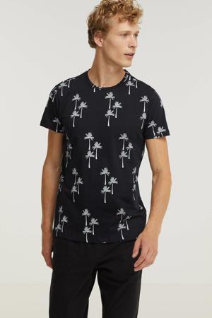 T-shirt Diogo met all over print zwart