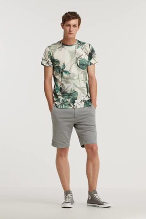 T-shirt Floral met all over print groen
