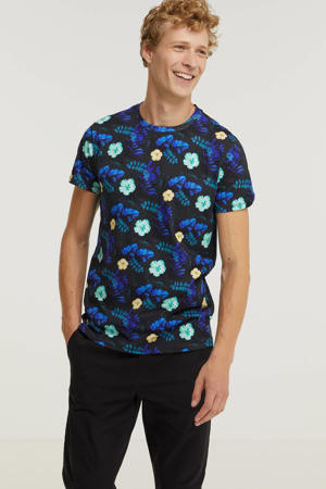 gebloemd T-shirt Estevo zwart
