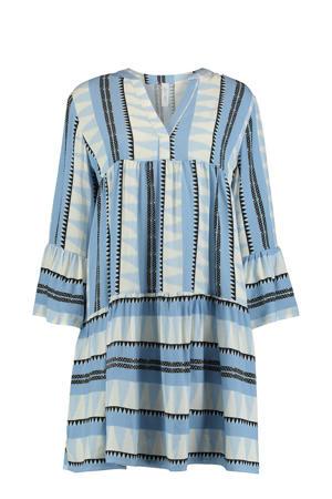jurk Lilian met all over print en volant blauw/ecru/zwart