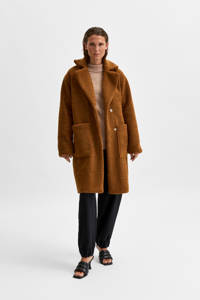SELECTED FEMME teddy coat SLFNEW NANNA bruin, Bruin