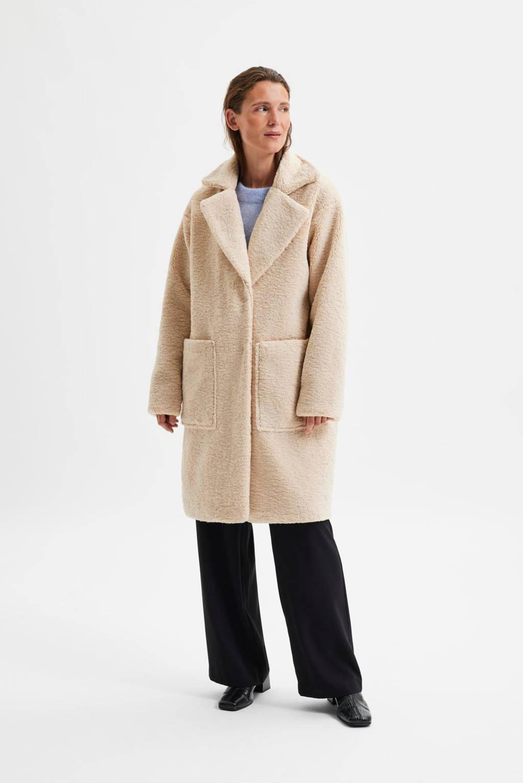 SELECTED FEMME teddy coat SLFNEW NANNA ecru, Ecru