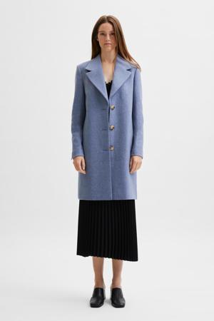 coat SLFNEW SASJA met wol blauw