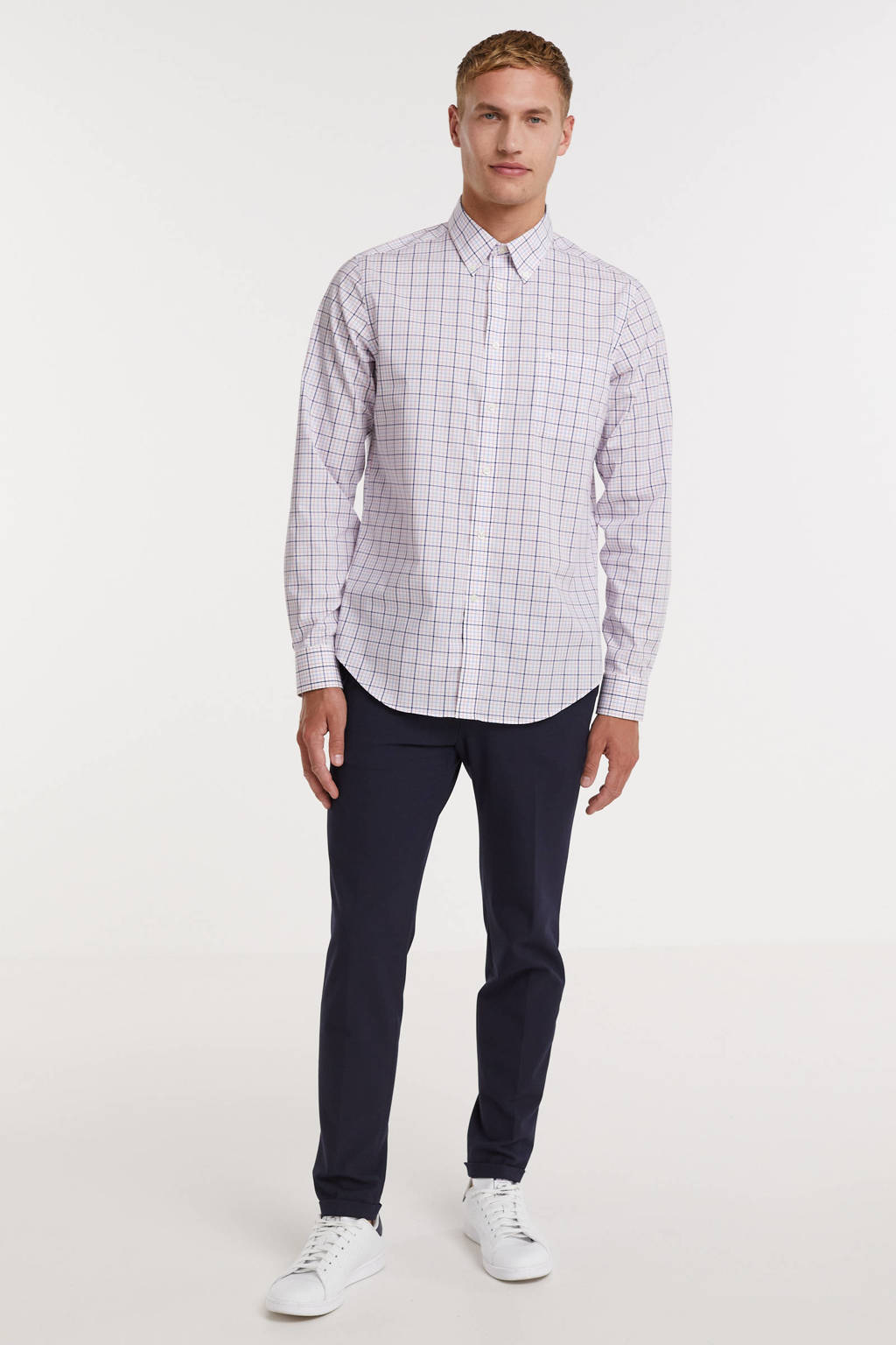 POLO Ralph Lauren geruite slim fit overhemd roze/wit/blauw, Roze/wit/blauw