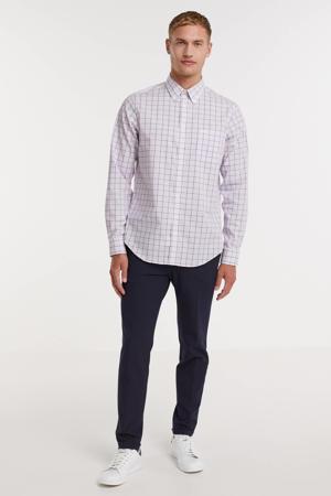 geruite slim fit overhemd roze/wit/blauw
