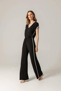 Claudia Sträter jumpsuit met zijstreep zwart/ecru, Zwart/ecru