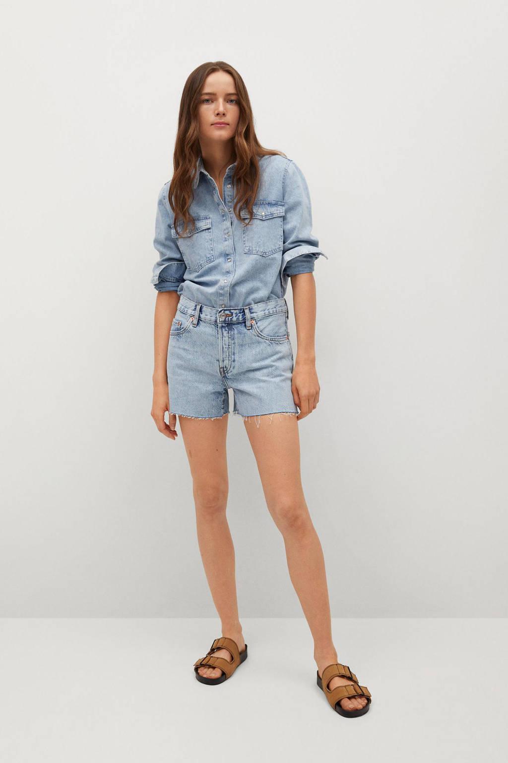 Mango high waist straight fit jeans short light denim, Light denim