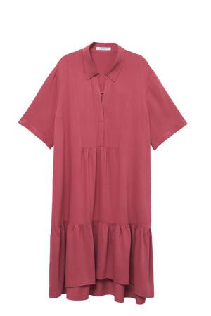 trapeze jurk met volant donkerroze