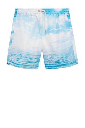 zwemshort met wolken print lichtblauw/wit