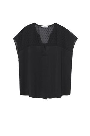 semi-transparante top van gerecycled polyester zwart