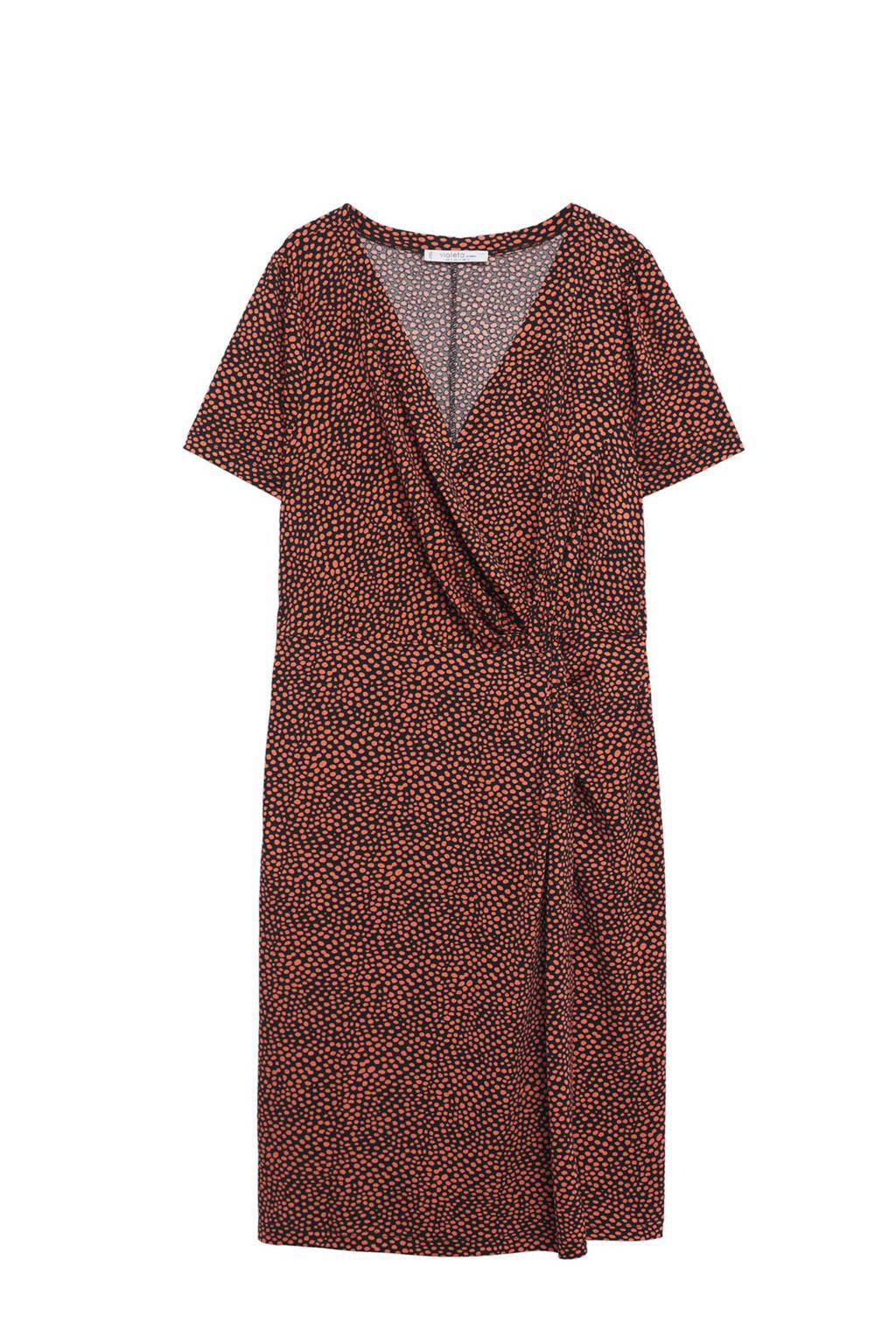 Violeta by Mango jurk met stippen koraalrood, Koraalrood