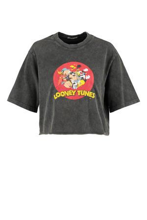 T-shirt met printopdruk washed black