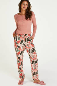 Hunkemöller pyjamabroek met all over print ecru/roze/groen, Ecru/roze/groen