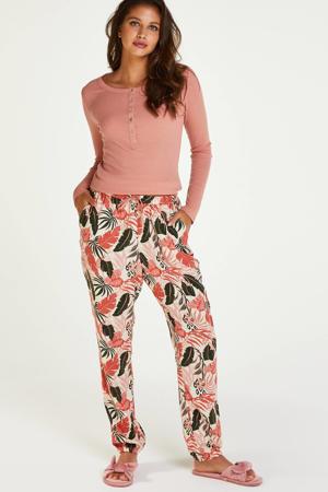 pyjamabroek met all over print ecru/roze/groen