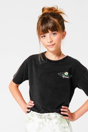 T-shirt met printopdruk verwassen zwart