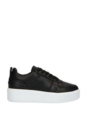 leren plateau sneakers zwart