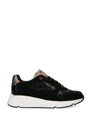leren sneakers met crocoprint zwart/brons