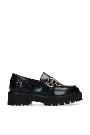 leren loafers met siergesp zwart