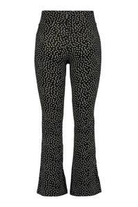 MS Mode flared legging met stippen zwart, Zwart/wit