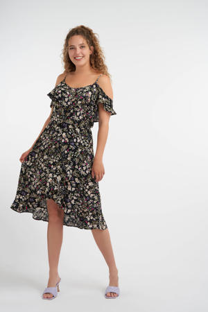 gebloemde jurk zwart/groen/paars/ecru