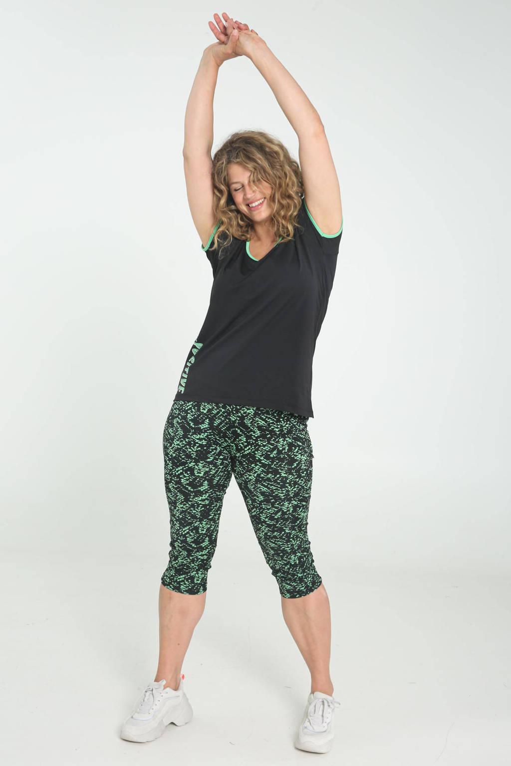 Paprika Plus Size sport T-shirt zwart/groen, VERT