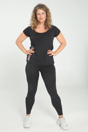 Plus Size sportcapri zwart/oranje