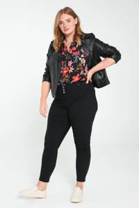 Paprika low waist slim fit pantalon zwart, Zwart