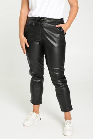 coated tapered fit broek zwart