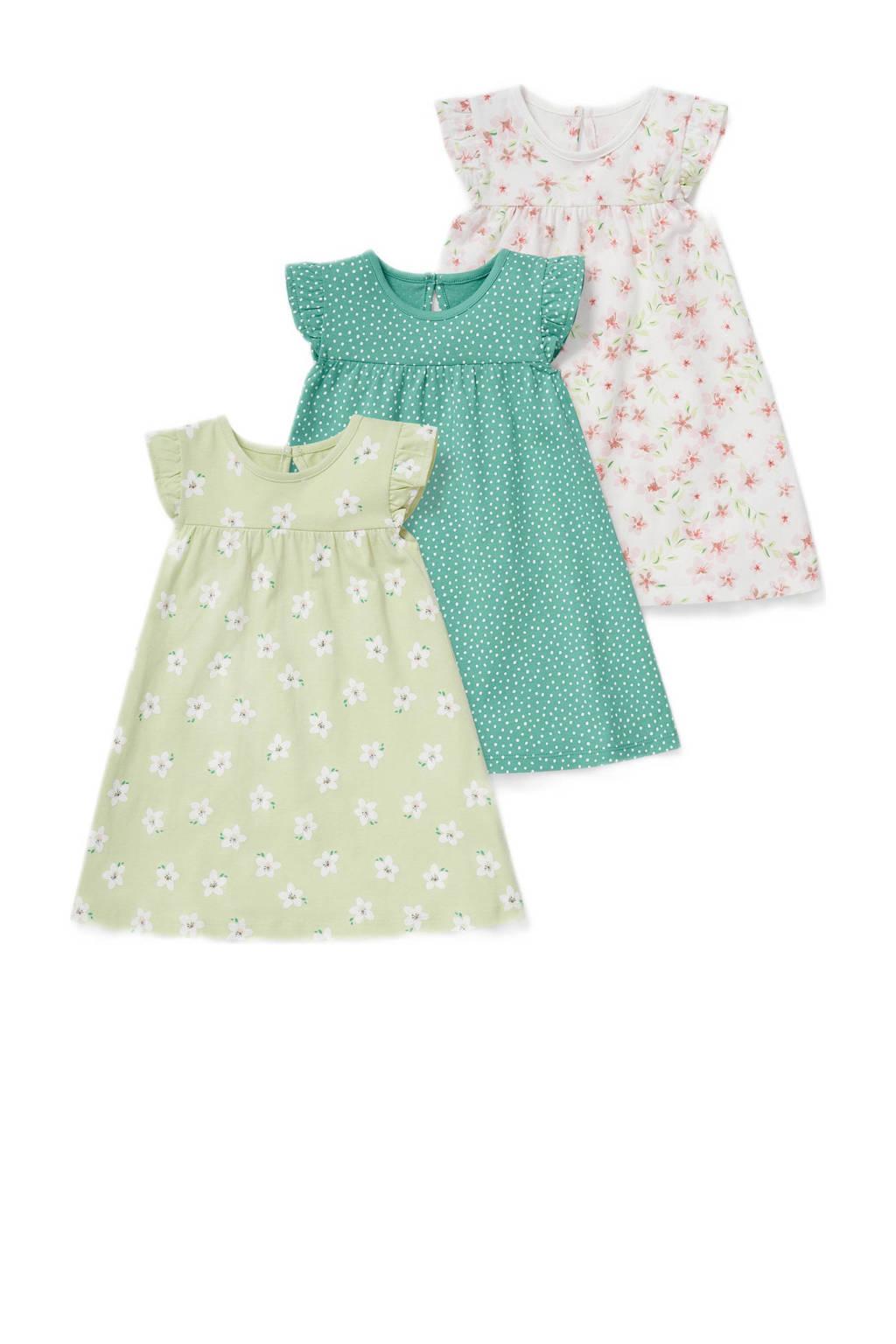 C&A Baby Club jurk - set van 3 lichtgroen/groen/ecru, Lichtgroen/groen/ecru