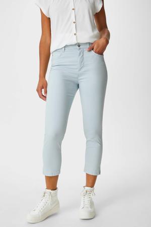 cropped high waist skinny broek met biologisch katoen lichtblauw
