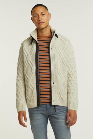 grofgebreid gevoerd vest met wol 9001 vaporous gray