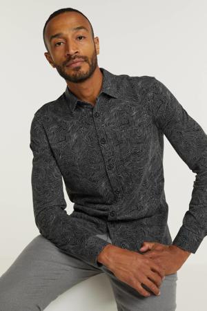 regular fit overhemd met all over print 999 zwart