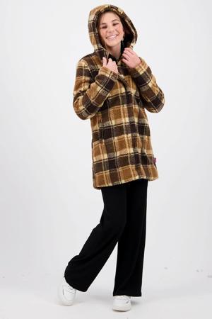 geruite teddy winterjas Thiske bruin/zwart