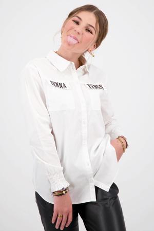 blouse Lenna met tekst wit