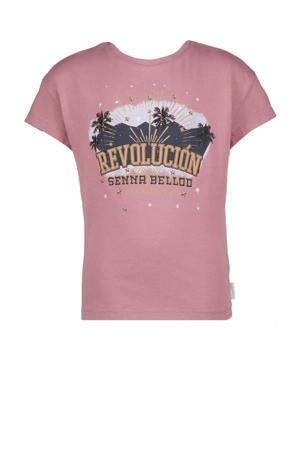 T-shirt Hadrina met printopdruk oudroze