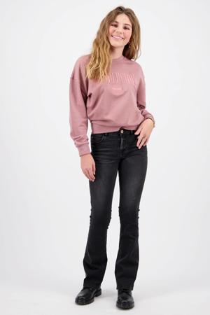 sweater Nilena met tekst en borduursels oudroze