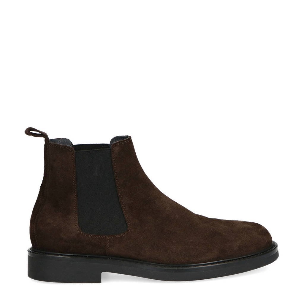 Manfield   suède chelsea boots donkerbruin, Donkerbruin