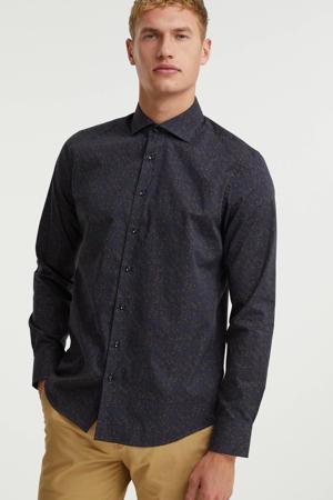 regular fit overhemd met all over print 5073 donkerblauw