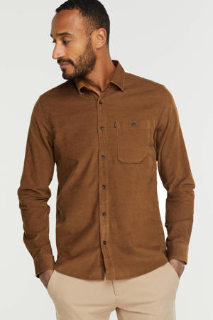 corduroy regular fit overhemd camel