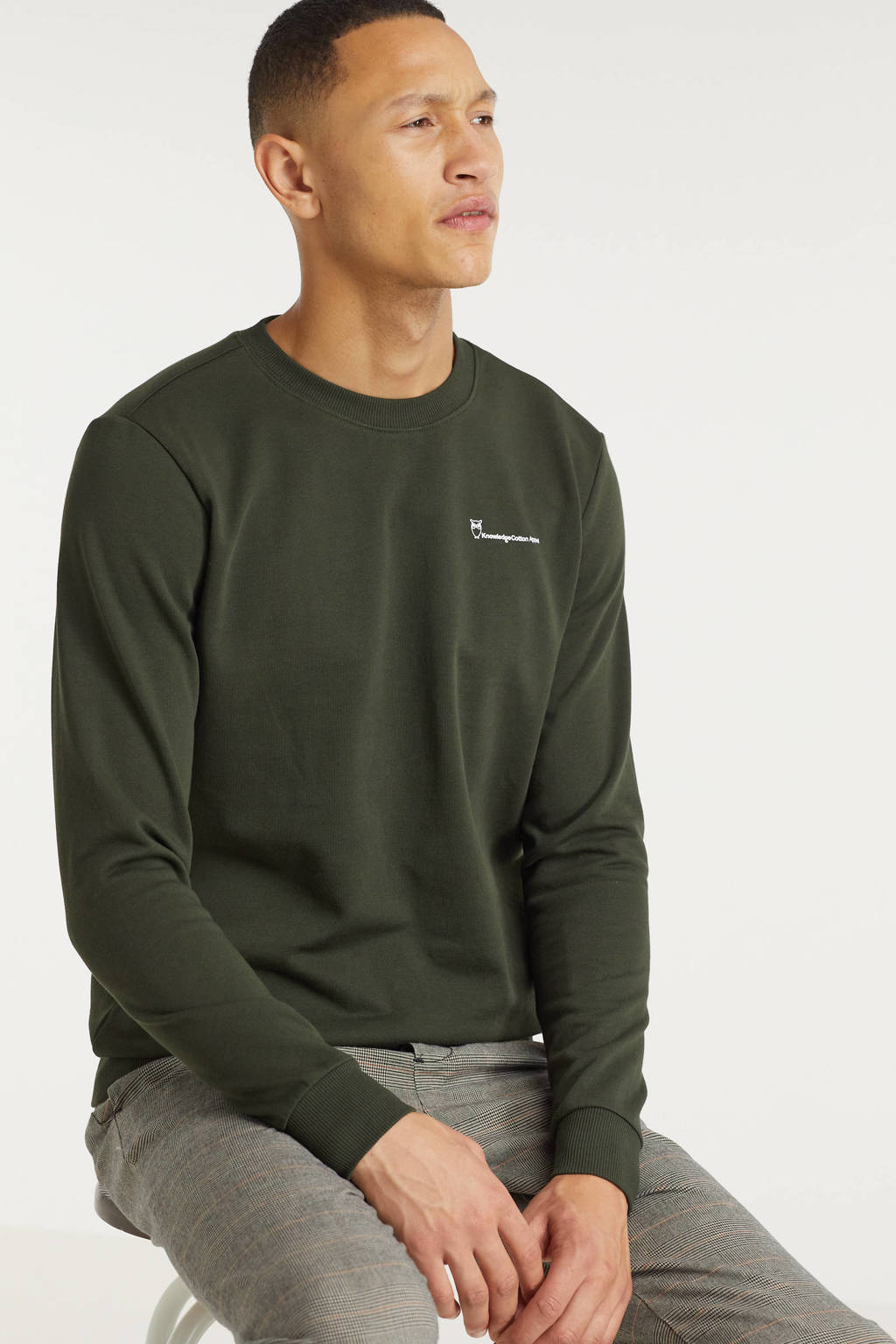 Knowledge Cotton Apparel sweater Elm forest night, Groen