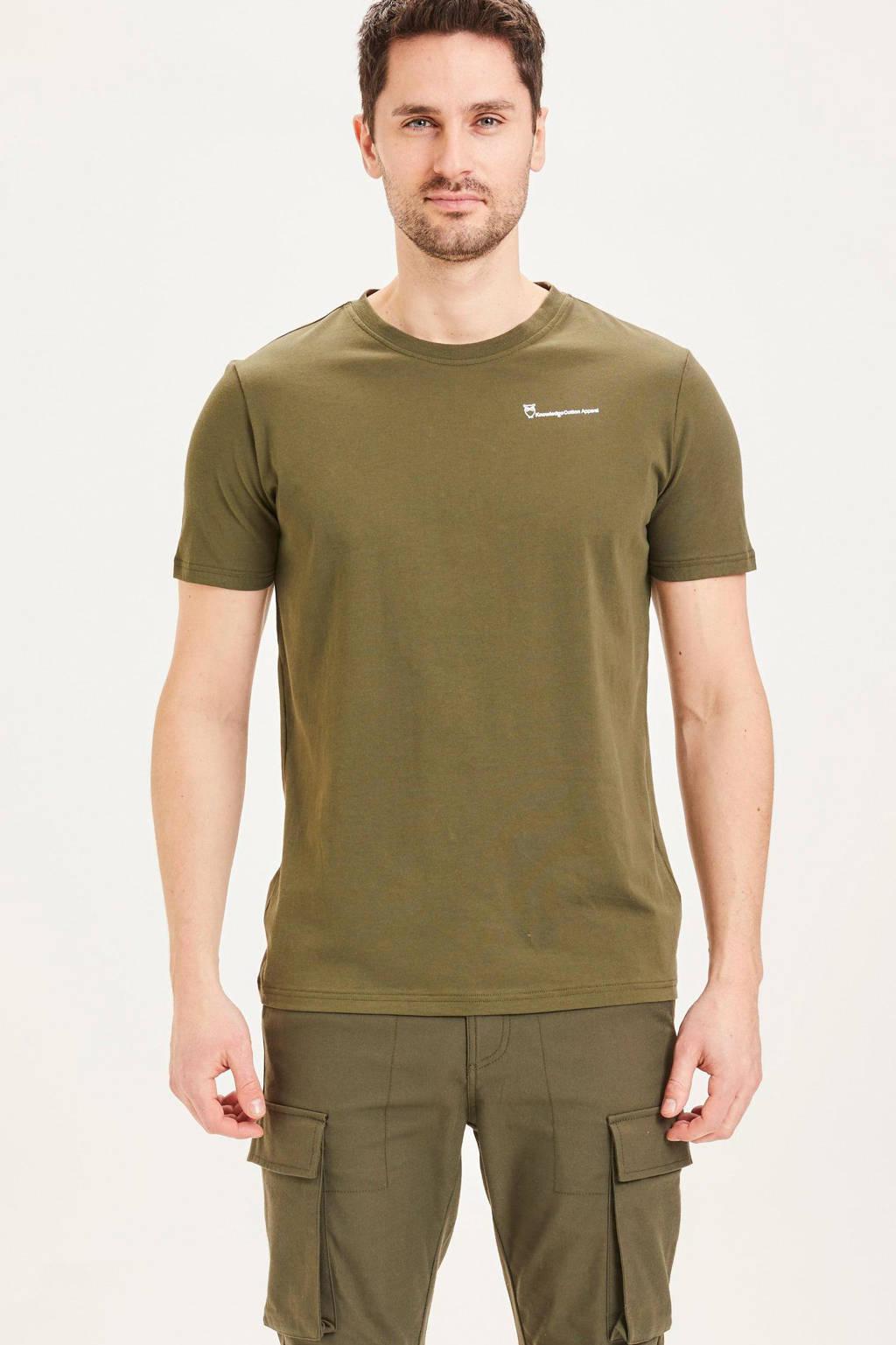 Knowledge Cotton Apparel T-shirt ALDER van biologisch katoen groen, Groen