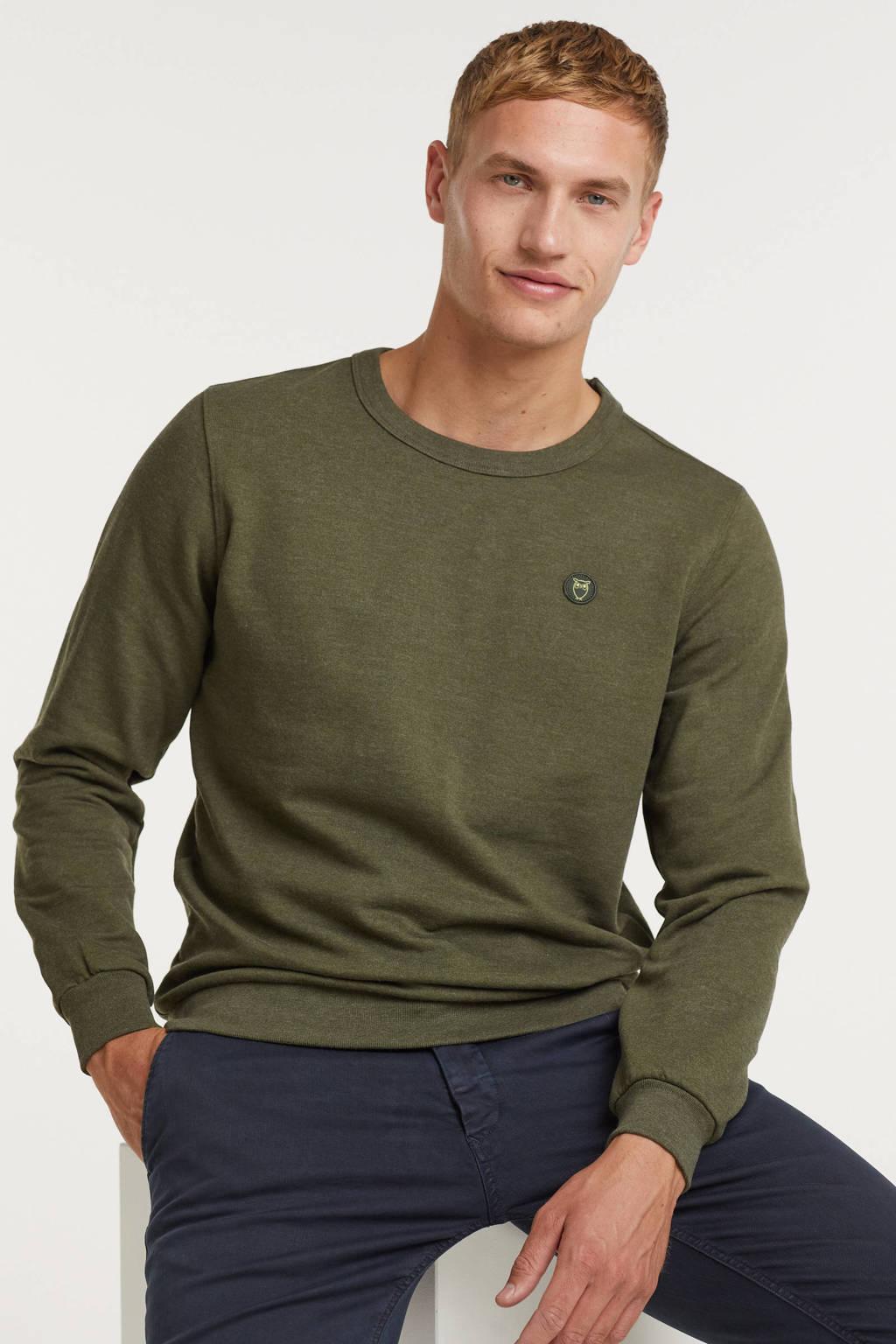 Knowledge Cotton Apparel sweater Elm van biologisch katoen groen melange, Groen melange
