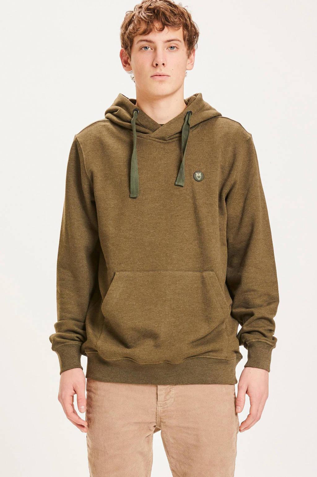 Knowledge Cotton Apparel hoodie Elm van biologisch katoen groen melange, Groen melange